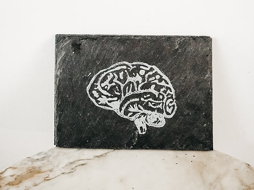 Brain, Linoleum X Slate, original-print on slate, limited