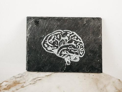 Brain, Linoleum X Slate, original-print on slate, limited