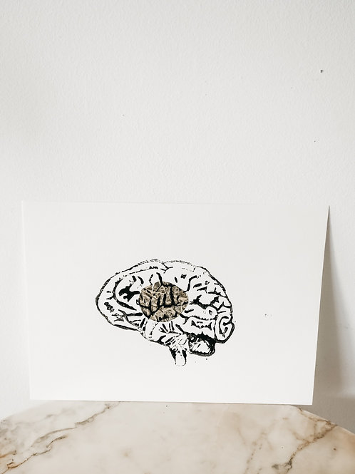 Brain, Metallic X Linoleum, original-print on paper, limited