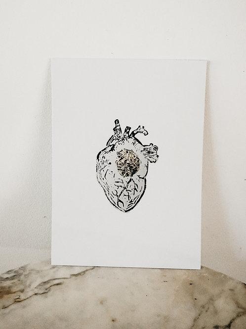 (PRINT)[intoxication] Heart, Linoleum X Metallic, art-print on paper, limited