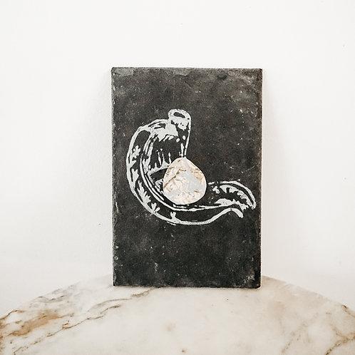 Stomach, Metallic X Linoleum X Slate, original-print on slate, limited