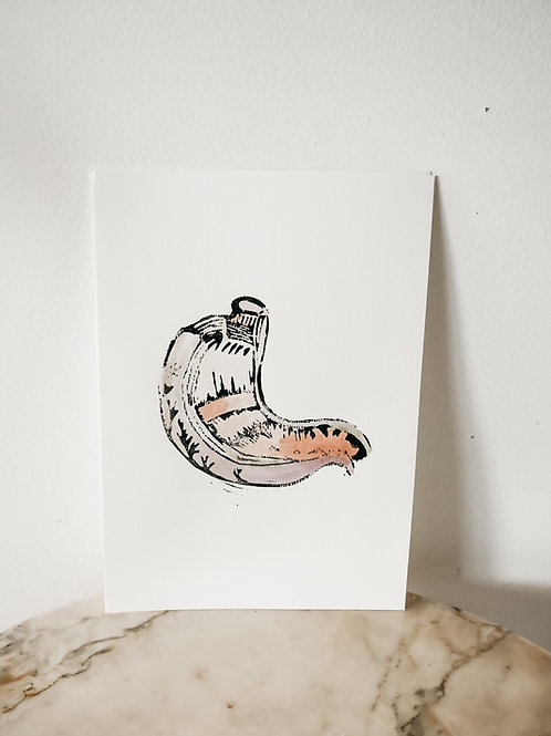 Stomach, Watercolor X Linoleum, original-print on paper, limited