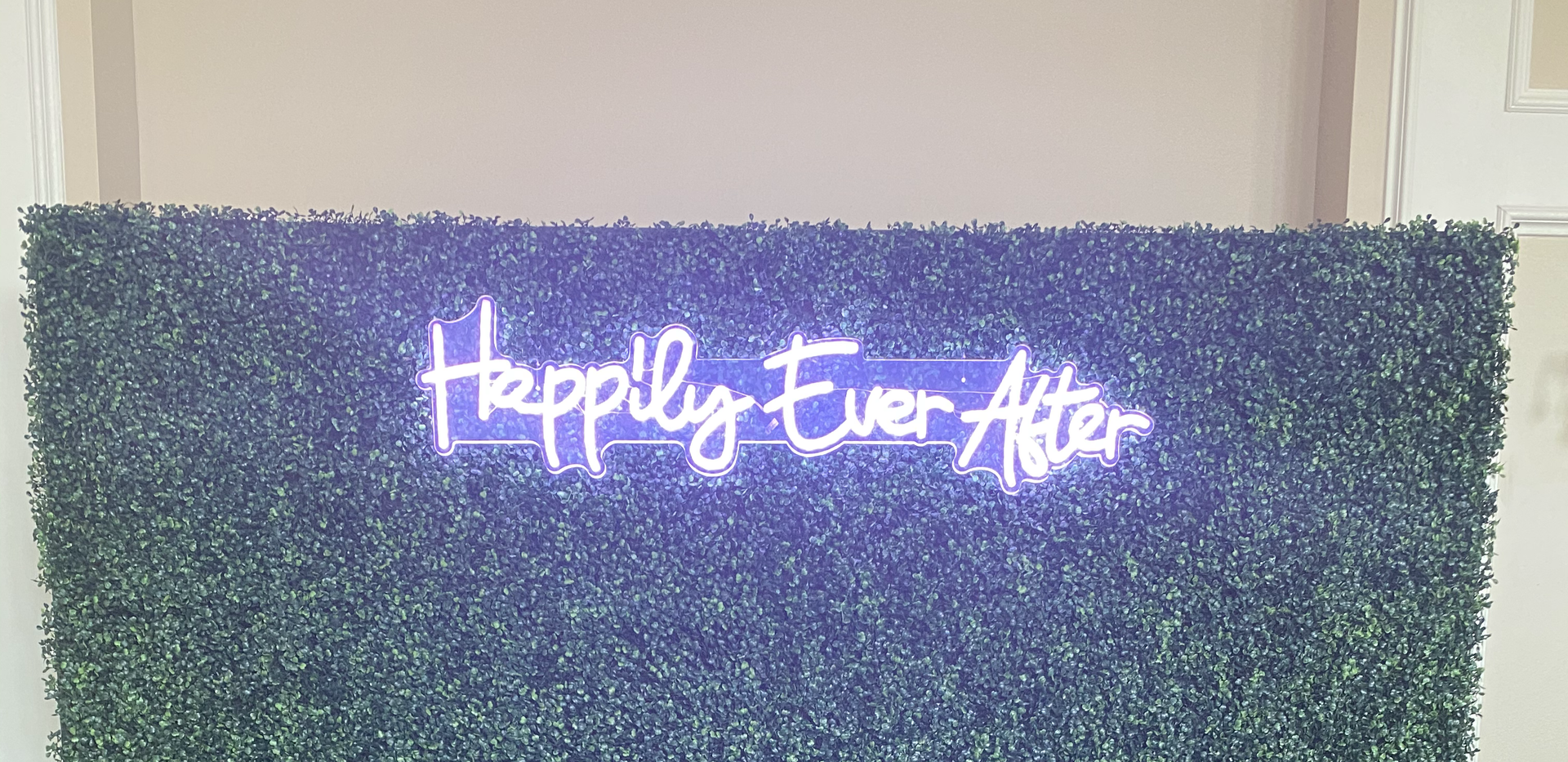 "Hedge Wall w/ ""Happily Ever After"" Neon"