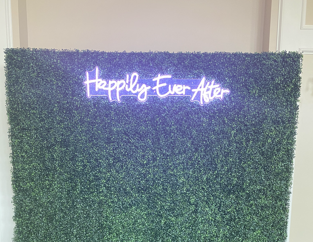 """Hedge Wall w/ """"Happily Ever After"""" Neon"""