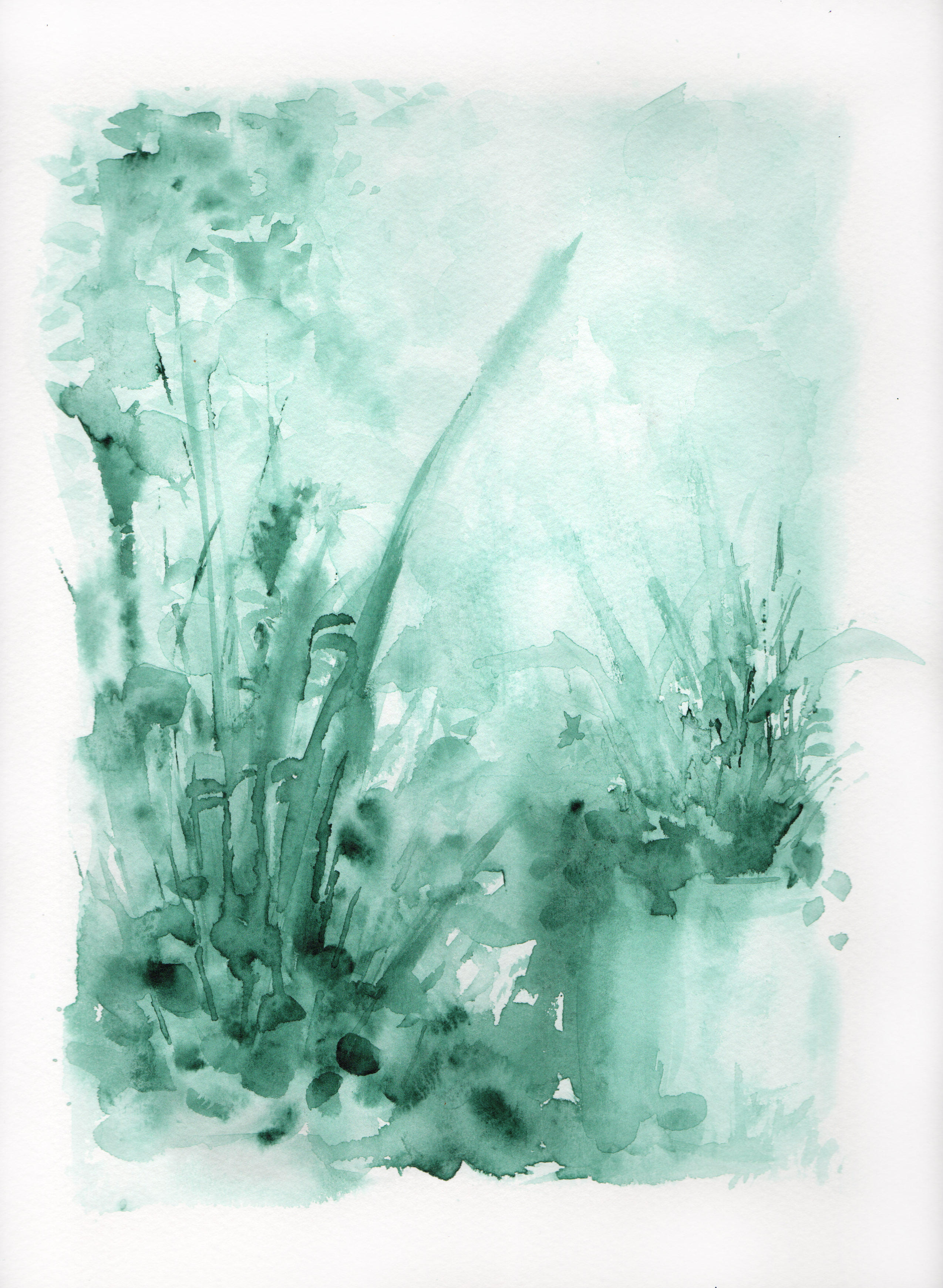 Botanical Study, sage green portrait no.1