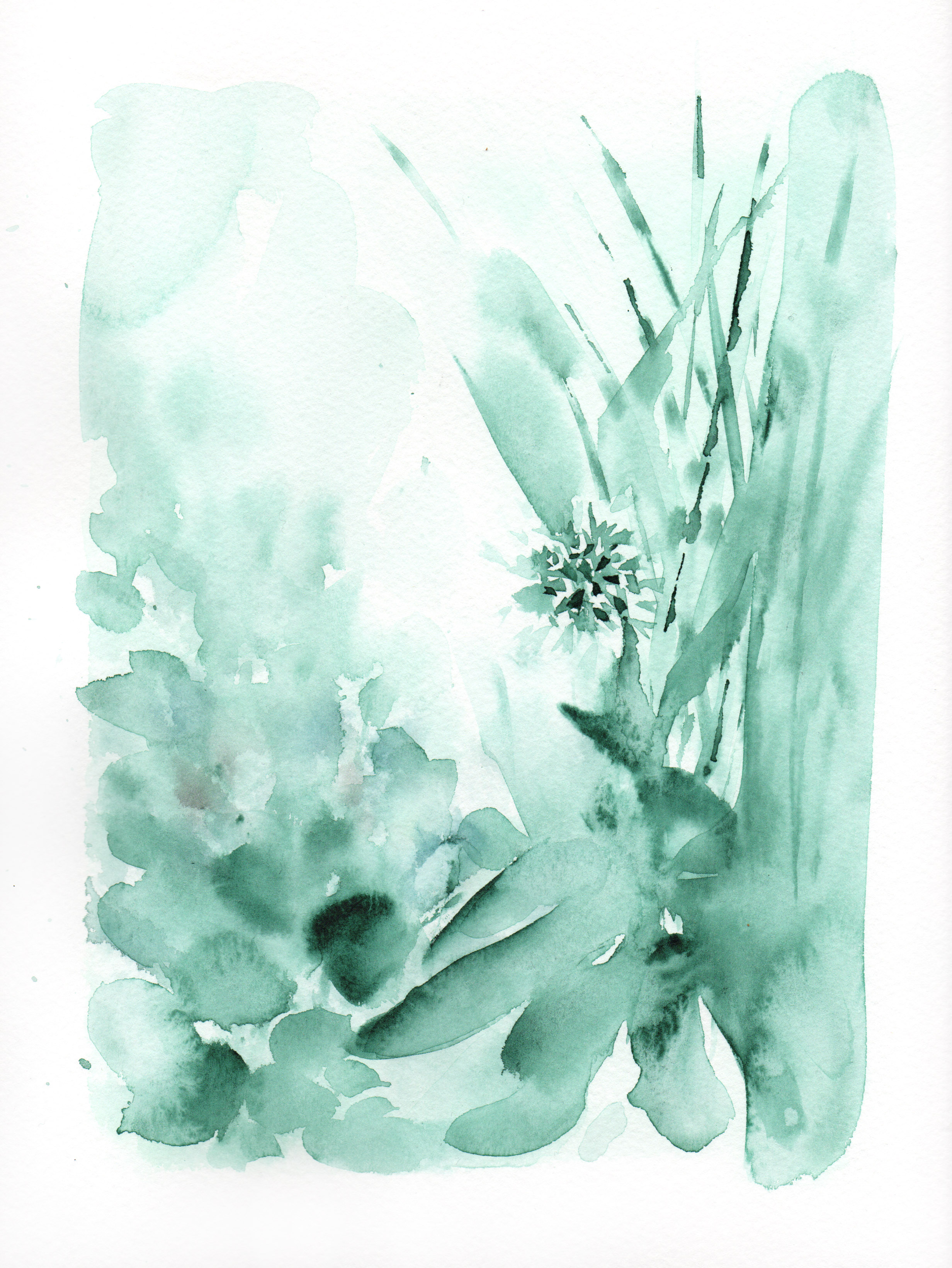 Botanical Study, sage green portrait no.2