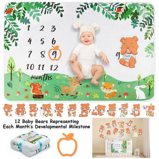 ComfiTime Adaptable Baby Milestone Blanket (Baby Bear)