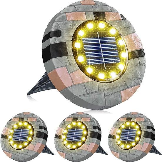 illuminlabs Faux Stone Casing Solar Ground Lights