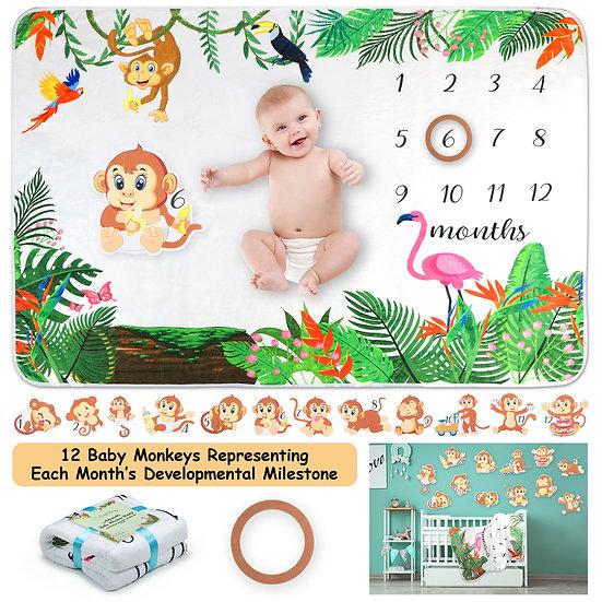 ComfiTime Adaptable Baby Milestone Blanket (Baby Monkey)
