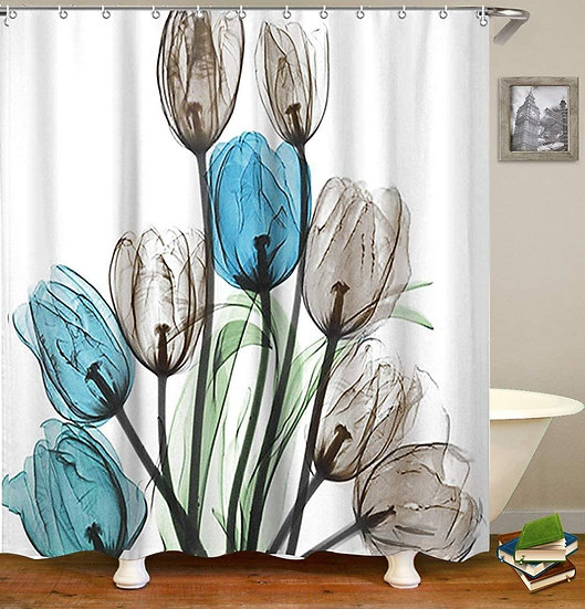 ComfiTime Fabric Shower Curtain Beautiful Tulip