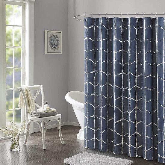 Raina Shower Curtain Printed Geometric Metallic Machine Washa