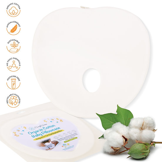 ComfiTime Organic Cotton Baby Pillowcase for Flat Head Shaping Pillow