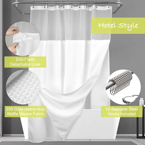 ComfiTime Waffle Weave Shower Curtain with Snap-in Fabric Liner Set