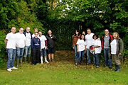 Team of Lloyds Managers by the ha-ha in Eastfield Park Northampton