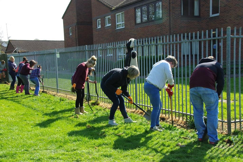 The volunteers from Thomson Holidays start work on the Wildflower Border - April 2015