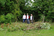 Team of Lloyds Managers clearing part of the ha-ha in Eastfield Park