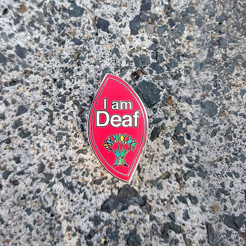 Red Full - 'I am Deaf' Wellbeing Pin