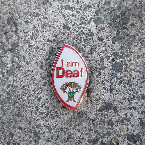 Red Outline - 'I am Deaf' Wellbeing Pin