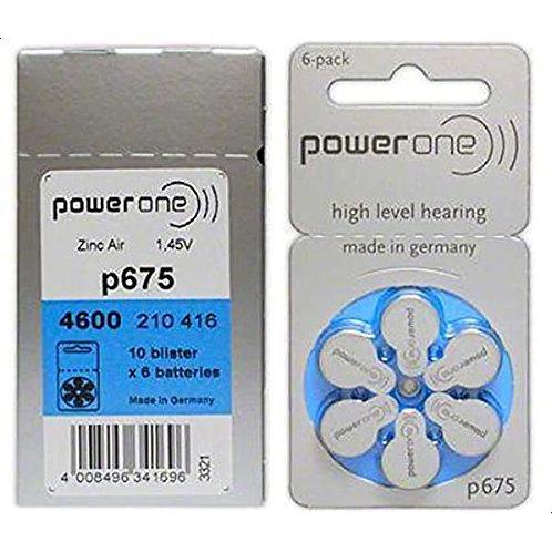 10 x Packs of PowerOne 675 Hearing Aid Batteries (6 Cells)