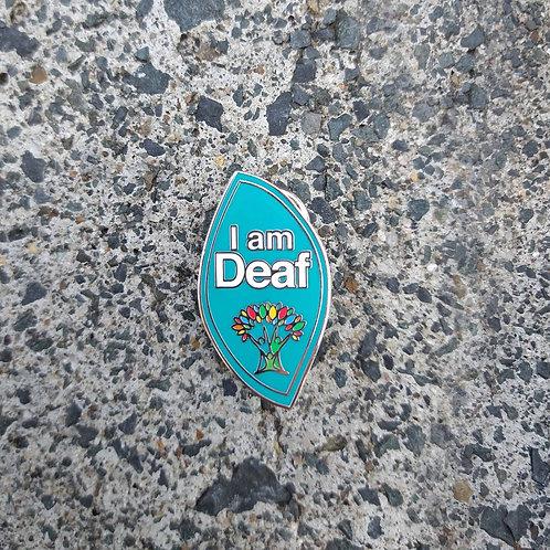 Teal Full - 'I am Deaf' Wellbeing Pin