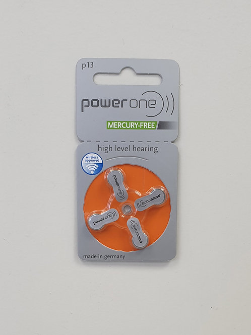 PowerOne 13 Hearing Aid Batteries (4 Cells)