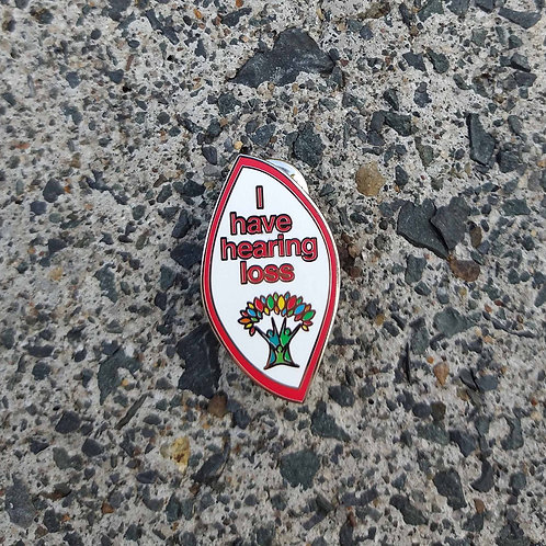 Red Outline - 'I have hearing loss' Wellbeing Pin
