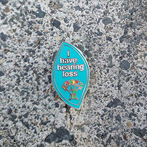 Teal Full - 'I have hearing loss' Wellbeing Pin