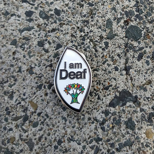 Black Outline - 'I am Deaf' Wellbeing Pin