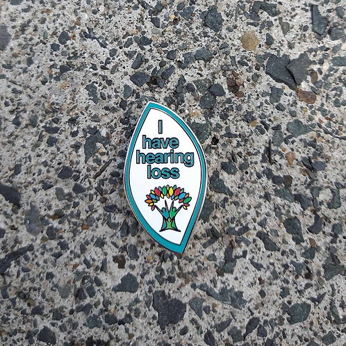 Teal Outline - 'I have hearing loss' Wellbeing Pin
