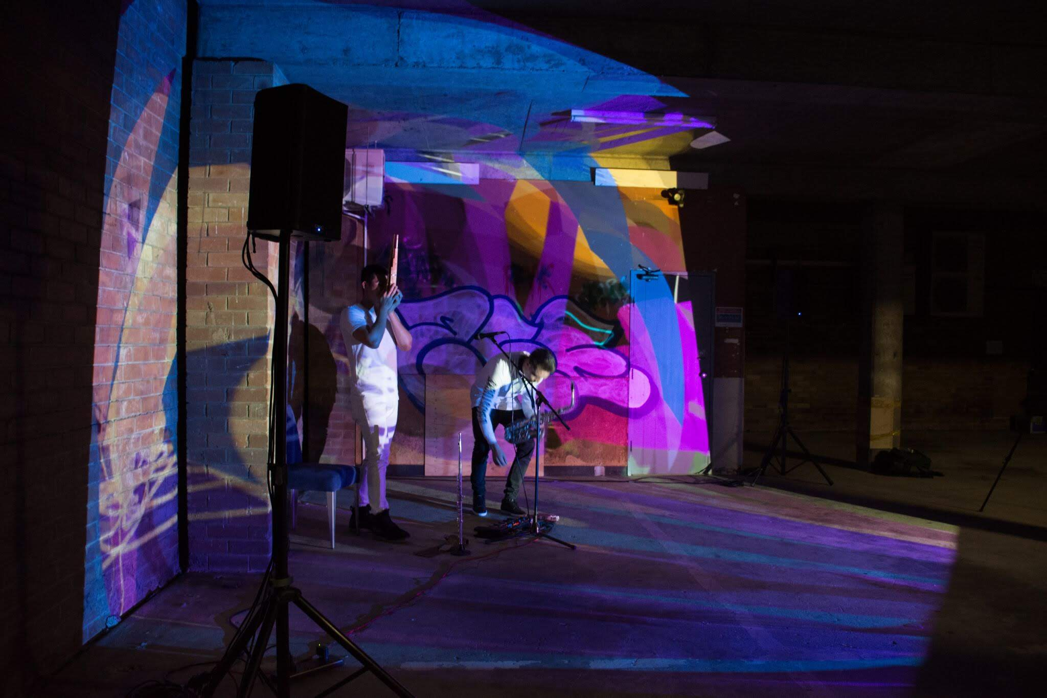 Improv loop machine performance with Tom Duck (Saxophone) and Todd Fuller (Visuals) @ the opening of