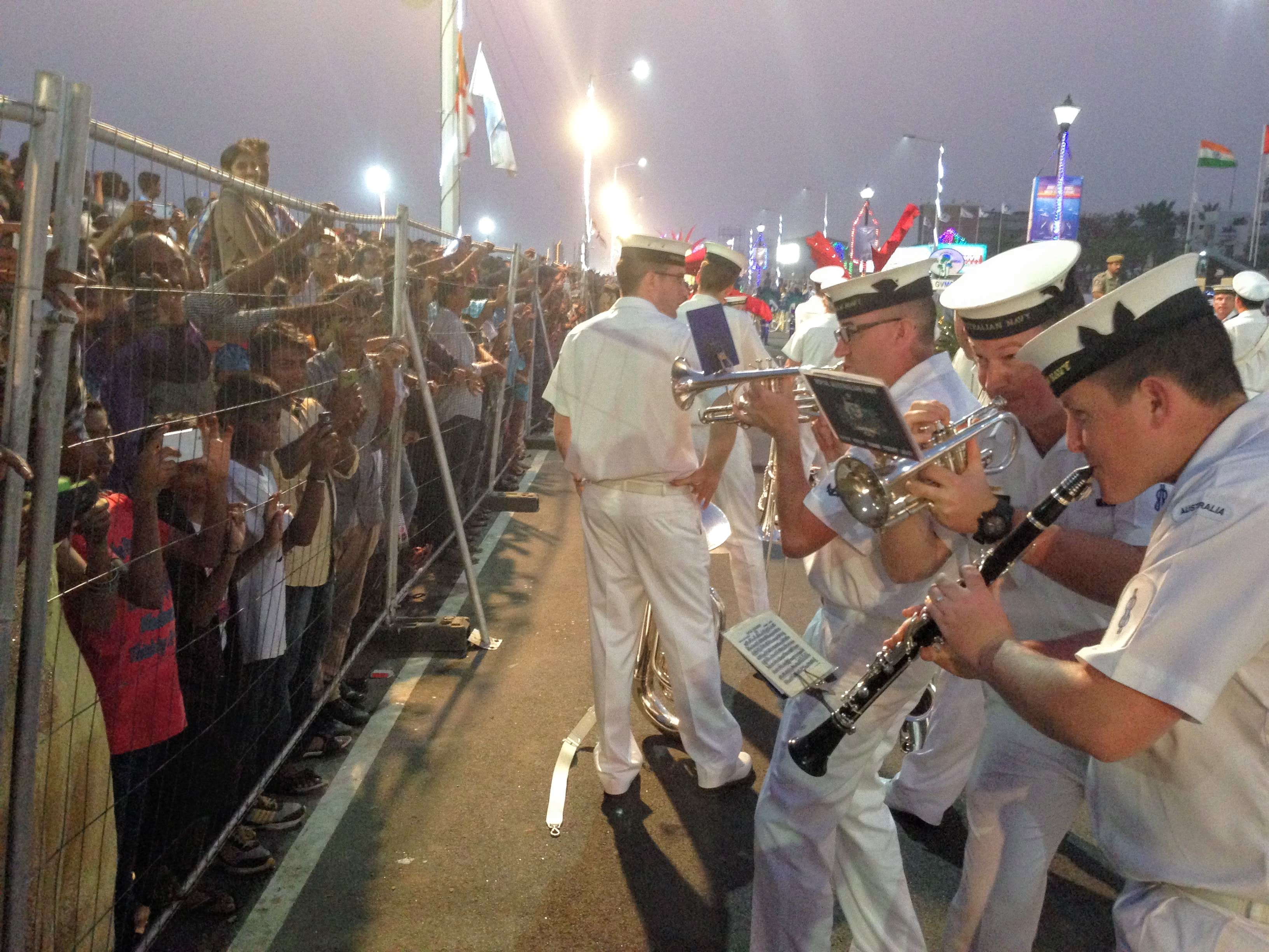 Royal Australian Navy Band members entertaining Prime Minister Modi along with 3 million spectators