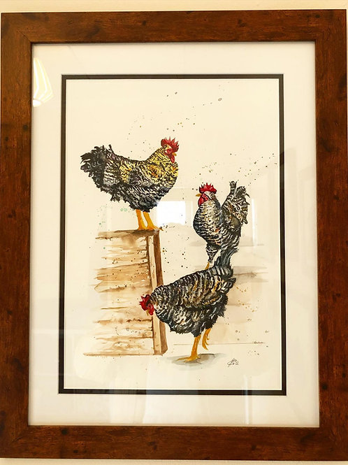 """Three Speckled Hens (17x23"""")"""