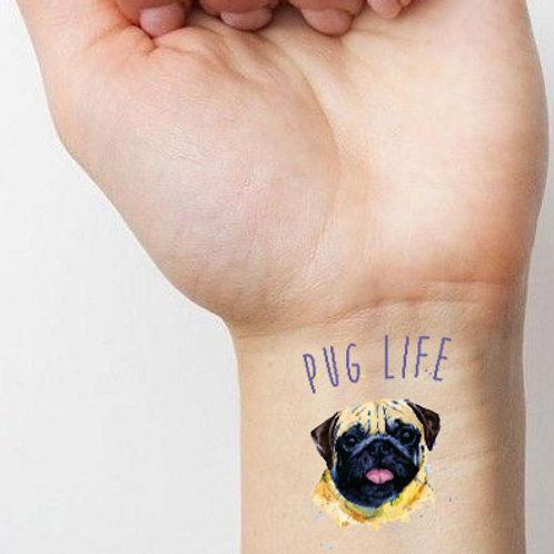 'Pug Life' Temporary Tattoo