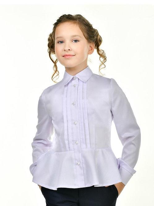 Белая блузка с баской и красивыми пуговицами