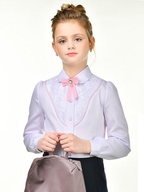 Нарядная школьная блузка с розовой отделкой сутажем
