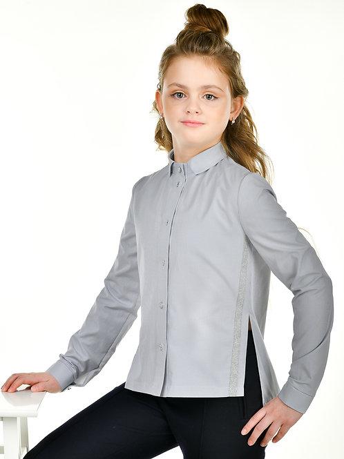 Блузка для девочки в мелкую серую полоску
