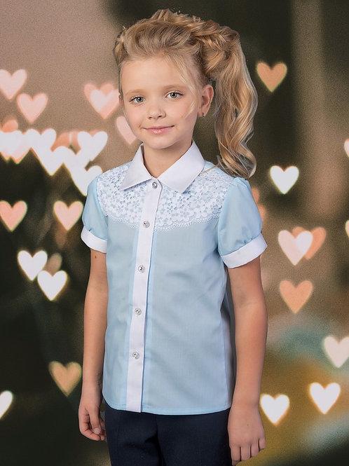 Нарядная голубая школьная блузка с кружевом арт. 11100 гол.