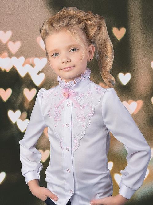 Нарядная школьная блузка для девочки с розовым кружевом