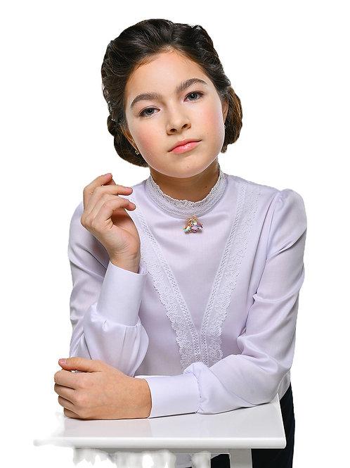 Белая блузка для девочки с застёжкой сзади