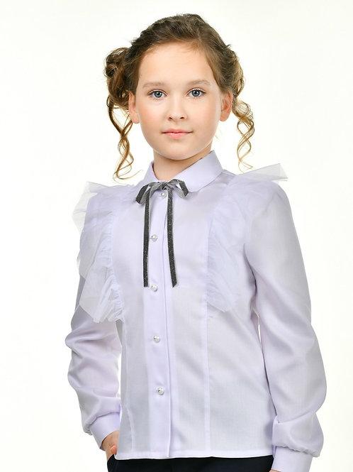 блузка белая нарядная с сеткой для девочки