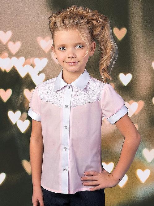 Розовая классическая школьная блузка
