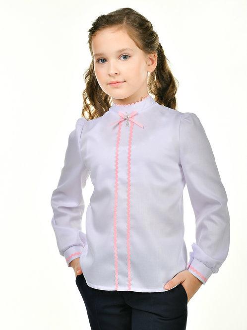 нарядная школьная блузка с розовой отделкой