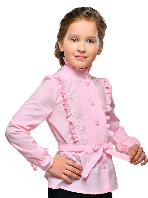 Школьная блузка с длинным рукавом розовая нарядная