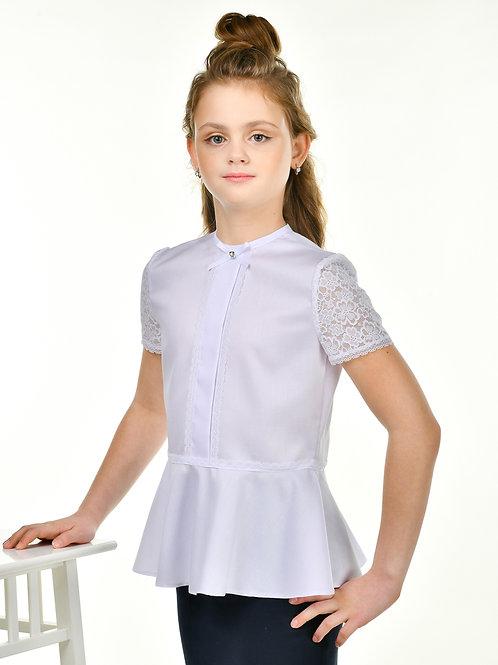 Нарядная блузка для девочки с коротким рукавом из гипюра.