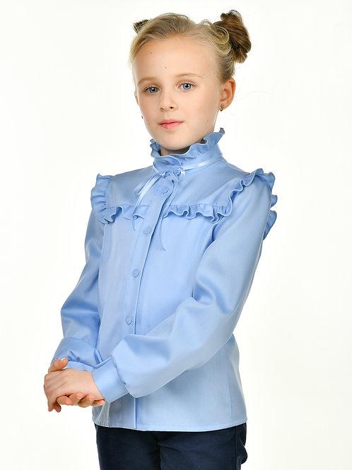 Школьная блузка голубая с рюшкой.