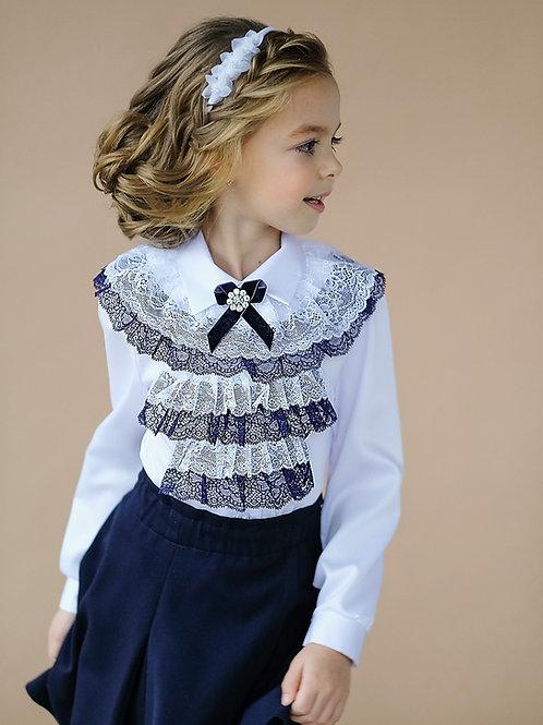 Классическая школьная блузка со съёмным жабо арт. 10815 син