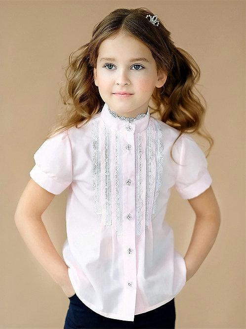 Нарядная розовая школьная блузка с узким кружевом арт. 11102