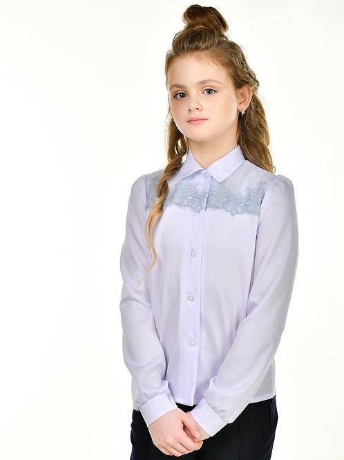 нарядная блузка для девочки с кружевом на кокетке.