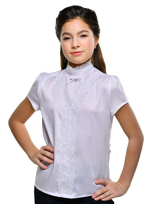 нарядная белая блузка с коротким рукавом для девочки