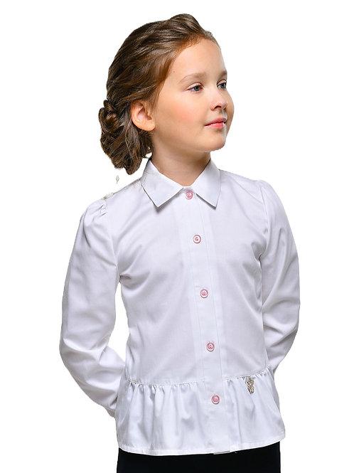 Блузка школьная с длинным рукавом с розовой отделкой